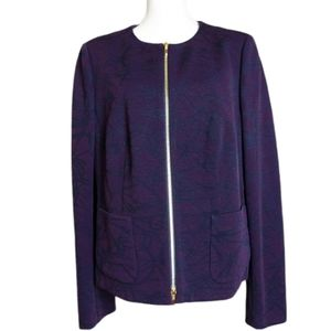 Escada Navy & Purple Wool Blend Zip Up Jacket 46